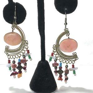 """Jewelry - Peruvian Earrings Half Moon Stones 3"""""""